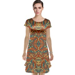 Multicolored Abstract Ornate Pattern Cap Sleeve Nightdress