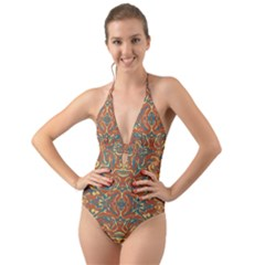 Multicolored Abstract Ornate Pattern Halter Cut Out One Piece Swimsuit
