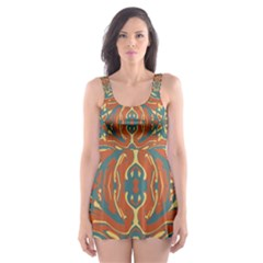 Multicolored Abstract Ornate Pattern Skater Dress Swimsuit