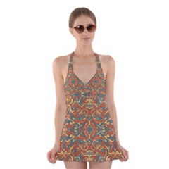 Multicolored Abstract Ornate Pattern Halter Dress Swimsuit