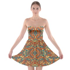 Multicolored Abstract Ornate Pattern Strapless Bra Top Dress
