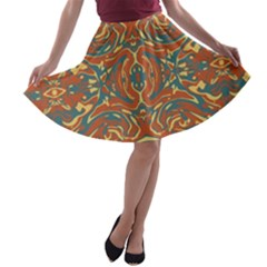 Multicolored Abstract Ornate Pattern A Line Skater Skirt