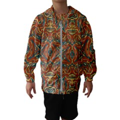 Multicolored Abstract Ornate Pattern Hooded Wind Breaker (kids)