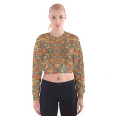 Multicolored Abstract Ornate Pattern Cropped Sweatshirt
