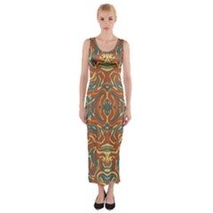 Multicolored Abstract Ornate Pattern Fitted Maxi Dress