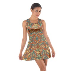 Multicolored Abstract Ornate Pattern Cotton Racerback Dress