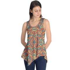 Multicolored Abstract Ornate Pattern Sleeveless Tunic