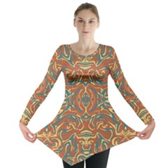 Multicolored Abstract Ornate Pattern Long Sleeve Tunic