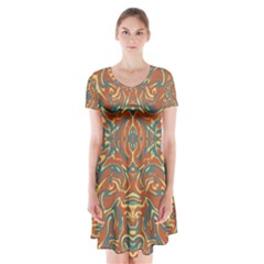 Multicolored Abstract Ornate Pattern Short Sleeve V Neck Flare Dress