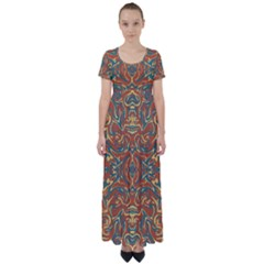 Multicolored Abstract Ornate Pattern High Waist Short Sleeve Maxi Dress