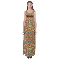 Multicolored Abstract Ornate Pattern Empire Waist Maxi Dress