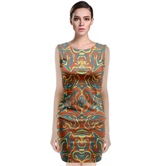 Multicolored Abstract Ornate Pattern Classic Sleeveless Midi Dress