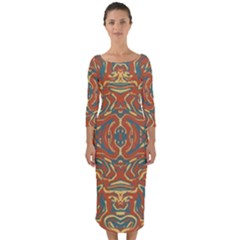 Multicolored Abstract Ornate Pattern Quarter Sleeve Midi Bodycon Dress