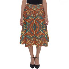 Multicolored Abstract Ornate Pattern Perfect Length Midi Skirt