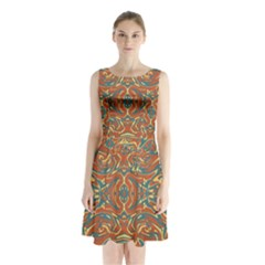 Multicolored Abstract Ornate Pattern Sleeveless Waist Tie Chiffon Dress