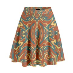 Multicolored Abstract Ornate Pattern High Waist Skirt