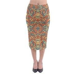 Multicolored Abstract Ornate Pattern Midi Pencil Skirt