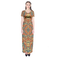 Multicolored Abstract Ornate Pattern Short Sleeve Maxi Dress
