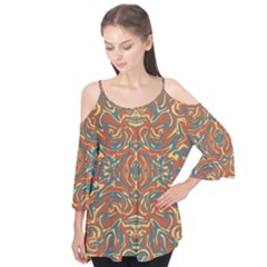 Multicolored Abstract Ornate Pattern Flutter Tees