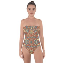 Multicolored Abstract Ornate Pattern Tie Back One Piece Swimsuit