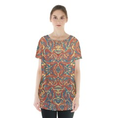 Multicolored Abstract Ornate Pattern Skirt Hem Sports Top