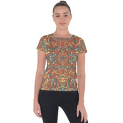 Multicolored Abstract Ornate Pattern Short Sleeve Sports Top