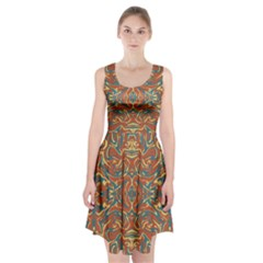 Multicolored Abstract Ornate Pattern Racerback Midi Dress