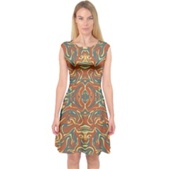 Multicolored Abstract Ornate Pattern Capsleeve Midi Dress