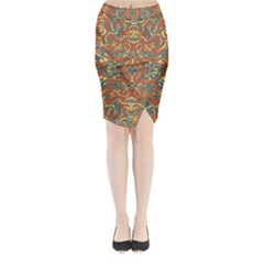 Multicolored Abstract Ornate Pattern Midi Wrap Pencil Skirt