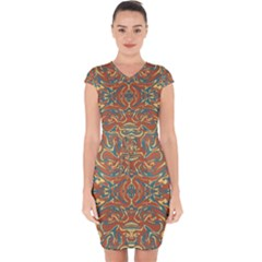 Multicolored Abstract Ornate Pattern Capsleeve Drawstring Dress