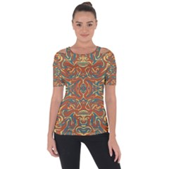 Multicolored Abstract Ornate Pattern Short Sleeve Top