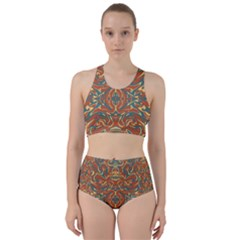 Multicolored Abstract Ornate Pattern Racer Back Bikini Set