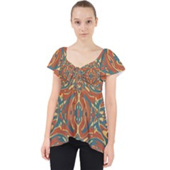Multicolored Abstract Ornate Pattern Lace Front Dolly Top