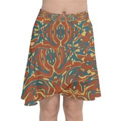 Multicolored Abstract Ornate Pattern Chiffon Wrap
