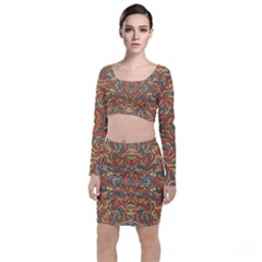 Multicolored Abstract Ornate Pattern Long Sleeve Crop Top & Bodycon Skirt Set