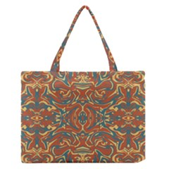 Multicolored Abstract Ornate Pattern Zipper Medium Tote Bag