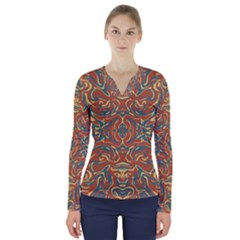Multicolored Abstract Ornate Pattern V Neck Long Sleeve Top