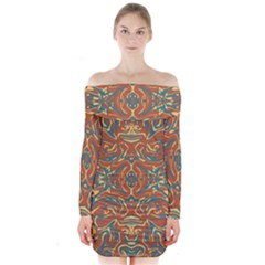 Multicolored Abstract Ornate Pattern Long Sleeve Off Shoulder Dress