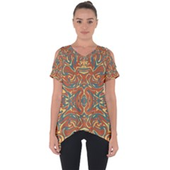 Multicolored Abstract Ornate Pattern Cut Out Side Drop Tee