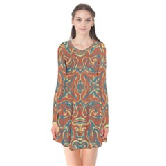 Multicolored Abstract Ornate Pattern Flare Dress
