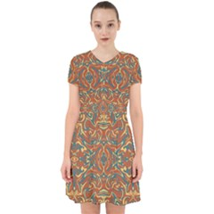 Multicolored Abstract Ornate Pattern Adorable In Chiffon Dress