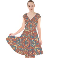 Multicolored Abstract Ornate Pattern Cap Sleeve Front Wrap Midi Dress
