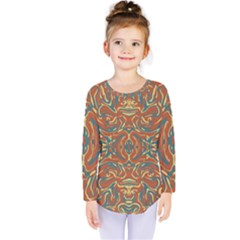 Multicolored Abstract Ornate Pattern Kids  Long Sleeve Tee