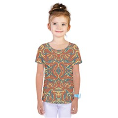 Multicolored Abstract Ornate Pattern Kids  One Piece Tee