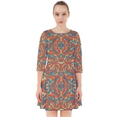 Multicolored Abstract Ornate Pattern Smock Dress