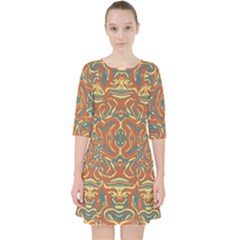 Multicolored Abstract Ornate Pattern Pocket Dress