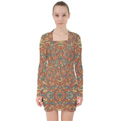 Multicolored Abstract Ornate Pattern V Neck Bodycon Long Sleeve Dress