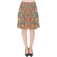 Multicolored Abstract Ornate Pattern Velvet High Waist Skirt