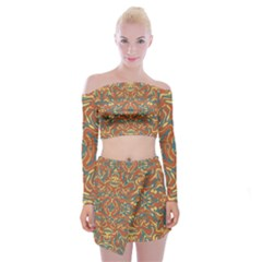 Multicolored Abstract Ornate Pattern Off Shoulder Top With Mini Skirt Set