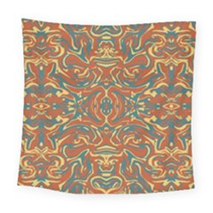 Multicolored Abstract Ornate Pattern Square Tapestry (large)